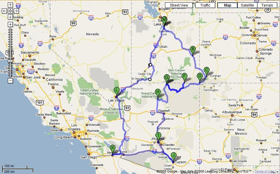 Trip Overview - 3,232 Miles